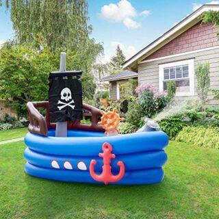 Teamson Kids Piscina Infantil Barco Pirata, Azul Negro