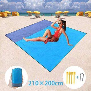 BETECK Alfombras de Playa, 210x200CM Manta de Picnic Impermeable con 4...