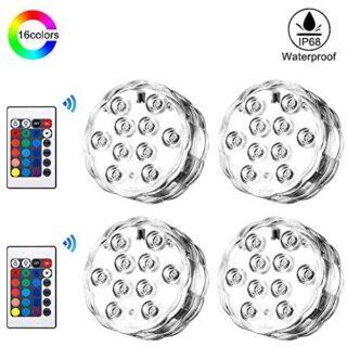 Luz sumergible con mando a distancia, 4 Luces LED Subacuáticas más 2 M...