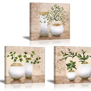 PIY 3X Cuadro Sobre Lienzo Imagen de Plantas Verdes Elegantes en Botel...