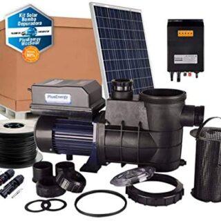 PlusEnergy Kit Depuradora de Piscina Solar 370W - 1/2cv con Paneles So...
