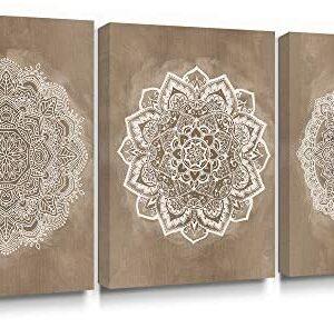 SUMGAR Mandala Wall Art Prints on Canvas Gold Boho Decorations for Bed...