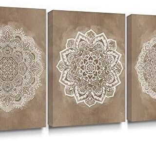 SUMGAR Mandala Wall Art Prints on Canvas Gold Boho Decorations for Bed...
