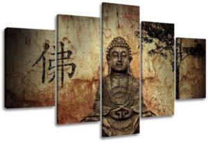 Visario 5502 - Cuadro de tela (5 piezas, 160cm), diseño de Buda, otro...