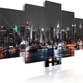 murando - Cuadro 200x100 cm - New York City Impresión de 5 Piezas Mate...