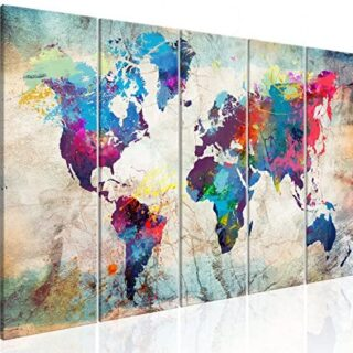 murando Cuadro Mapamundi 200x80 cm Impresión de 5 Piezas Material Teji...