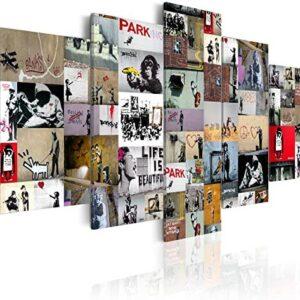 murando - Cuadro en Lienzo 200x100 cm Banksy Impresión de 5 Piezas Mat...