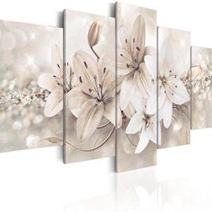 murando - Cuadro en Lienzo 200x100 cm Flores Impresión de 5 Piezas Mat...