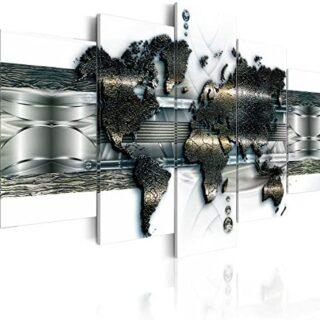 murando - Cuadro en Lienzo 200x100 cm Mapa del Mundo Impresión de 5 Pi...