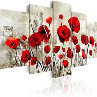 murando - Cuadro en Lienzo Amapolas 200x100 cm Flores Impresión de 5 P...