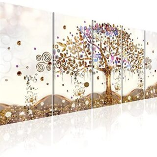 murando - Cuadro en Lienzo Arbol Klimt 225x90 cm Impresión de 5 Piezas...