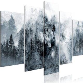 murando - Cuadro en Lienzo Lobo 200x100 cm Impresión de 5 Piezas Mater...