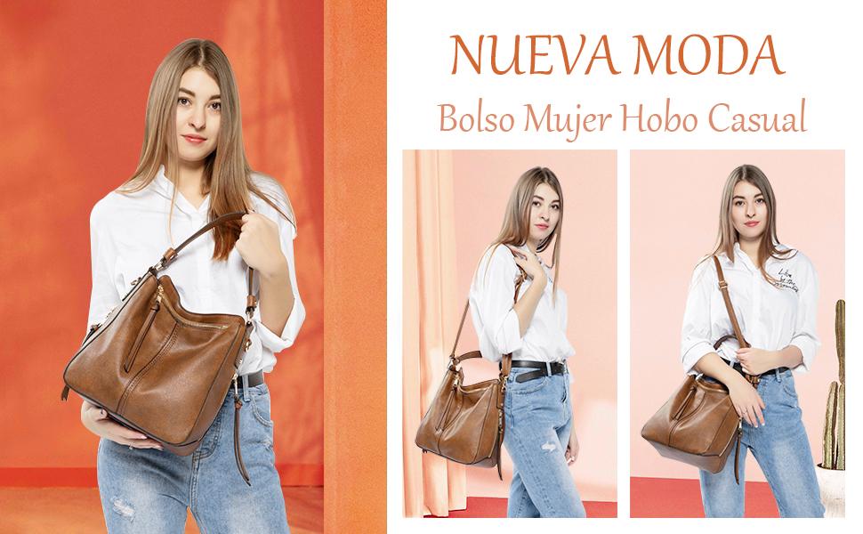 hobo bolso de hombro de cuero de imitación de cuero para mujer 2019 bolsos sintéticos para mujeres jóvenes bolso de mujer marrón