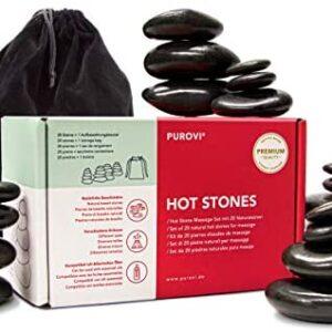 Purovi Set Profesional de Piedras Calientes para Masaje | 20 Piedras d...