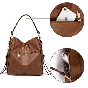 hobo bolso de hombro de cuero de imitación de cuero para mujer 2019 bolsos sintéticos para mujeres jóvenes bolso de mujer de coñac