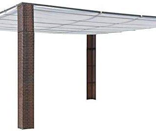 Ausla - Pérgola de jardín con techo (resina trenzada,...