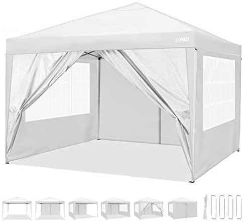 COBIZI Carpa de jard/ín 3x3m Cenador Plegable Gazebo Impermeable con 4 Paredes Ajustable en Altura Protecci/ón UV 50+ Pabellon de Jardin Plegable Event Shelter para Patio//Camping//Playa//Fiestas