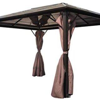 vidaXL Cenador de Jardín de Aluminio con Cortinas...